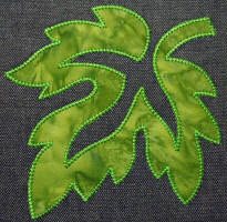 leaves applique quilted
