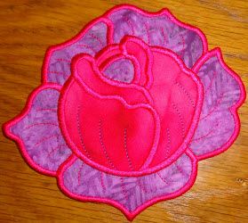 rose mug rug purple