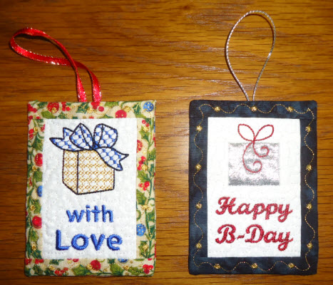gift tags piecd in the hoop
