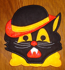 Scary Cat Applique Halloween