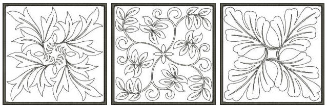decorative quilting leaves and flowers